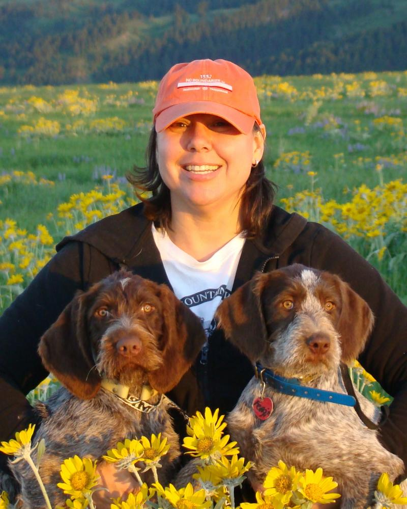 Jodi with two pups--Pistol & Groovy